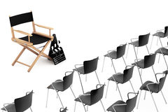 Office Chairs in front of Cinema Director Chair, Movie Clapper a. Nd Megaphone on a white background. 3d Rendering Stock Image