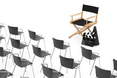 Office Chairs in front of Cinema Director Chair, Movie Clapper a. Nd Megaphone on a white background. 3d Rendering Royalty Free Stock Photo