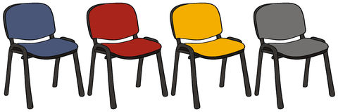 Office chairs. Hand drawing of a set of four office chairs Royalty Free Stock Images