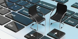 Office chairs on a laptop. 3d illustration Stock Images