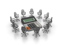 Office Chairs Meeting with Calculator Royalty Free Stock Photos