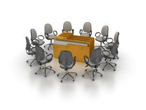 Office Chairs Meeting with Computer Folder. High Quality 3D Rendering of Office Chairs Meeting with Computer Folder on White Background Stock Photos