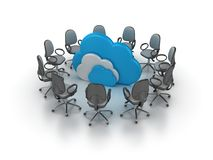 Office Chairs Meeting with Computing Clouds vector illustration