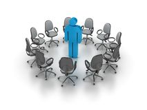 Office Chairs Meeting with One Pictogram Person. On White Background stock illustration