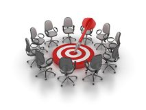 Office Chairs Meeting with Target and Dart stock photo