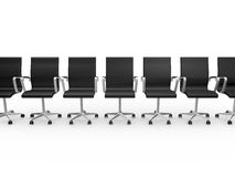 Office Chairs in a Row. Office chairs in waiting room with a row, isolated on white background Stock Photos