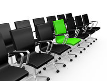 Office Chairs in a Row with Green Chair. Black office chairs in a row with difference of green chair, isolated on white background Stock Photos