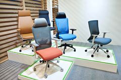 Office chairs in shop. Office chairs in showcase of store stock photography