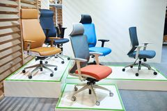 Office chairs in shop. Office chairs in showcase of store royalty free stock photos