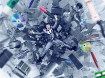 Office chaos abyss. Afraid businessman is falling into office chaos abyss royalty free stock photography
