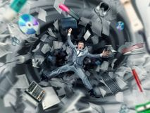 Office chaos. Scared businessman is falling into office chaos Royalty Free Stock Image