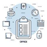 Office checklist paper clock calendar printer file. Vector illustration Royalty Free Stock Image