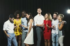 Office new year party. Young people having fun Royalty Free Stock Images