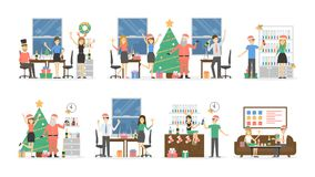 Office Christmas party. People in Santa hats have fun on white background Royalty Free Stock Photo
