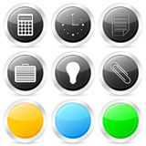 Office circle icon set Stock Image
