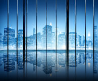 Office Cityscape Builidings Contemporary Interior Room Modern Co Royalty Free Stock Image