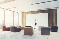 Office classroom colored chairs closeup side, girl Royalty Free Stock Photos
