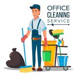 Office Cleaner Vector. Cleaner And Cleaning Equipment. Sweeper   Stock Photo