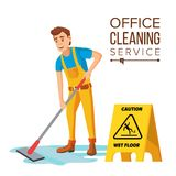 Professional Office Cleaner Vector. Janitor With Cleaning Equipment. Flat Cartoon Illustration stock illustration
