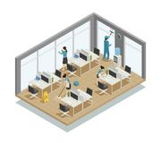 Office Cleaning Isometric Composition Stock Photography