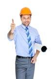 Office clerk-53. Office clerk on orange helmet on white background Stock Photo