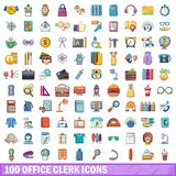 100 office clerk icons set, cartoon style Royalty Free Stock Photos