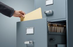 Office clerk searching files royalty free stock photos