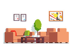 Office or clinic waiting room with coffee table. Office or clinic waiting room interior design with coffee table, coach and arm chairs. Business company hall stock illustration