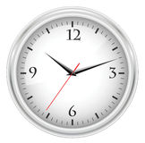 Office clock. White office clock on white background royalty free illustration