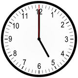 Office clock 5 o'clock. An illustration of an office clock on 5 o'clock Royalty Free Stock Images