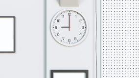 Office clock in the beginning of a working day. 3D rendering Stock Image