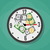 Office clock and Money. Coins and dollars laying on the white office clocks. time is money concept. vector illustration in flat design on green background Royalty Free Stock Photo