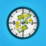 Office clock and Money. Vector illustration in flat design on blue background Stock Photos
