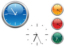 Office clocks in different colors Royalty Free Stock Photo