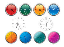Office clocks in different colors Stock Photos