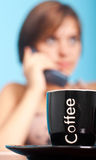 Office coffee. With woman out of focus Royalty Free Stock Images