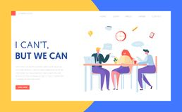 Free Office Coffee Break Landing Page. Business Character Team On Lunch Meeting. Creative Staff Chat Together At Workplace Royalty Free Stock Image - 135177216