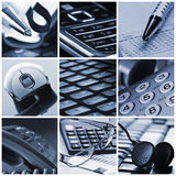 Office collage. Office workers equipment in collage Stock Photos