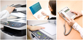 Office Collage Of Four Images Royalty Free Stock Photo