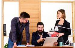 Office collective concept. Coworkers communicate solving business tasks. Working together. Working process. Business royalty free stock image