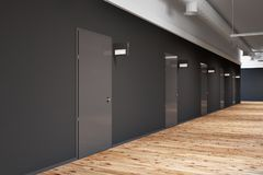 Office or college corridor with rows of doors side Royalty Free Stock Images