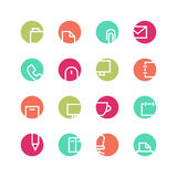 Office colored icon set. Office icon set - vector minimalist. Different symbols on the colored background Royalty Free Stock Photo