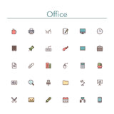 Office Colored Line Icons. Office and workplace colored line icons set. Vector illustration Stock Photography