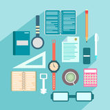 Office colored objects on a colored background with shadow collection of symbols Stock Photos