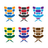 Office colorful armchairs set vector design Stock Photos