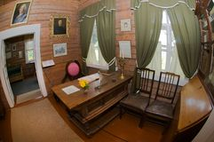 An office of the commander. The interior of the museum Suvorov in Konchanskoe-Suvorovskoe. Generalissimo A. Suvorov is a great russian warlord Stock Photo