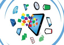 Office communication 3D icons. Tablet,phone, mail, wifi, cloud storage Royalty Free Stock Image
