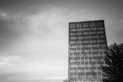 Office complex of high-rise buildings. Black and white. Stock Photos