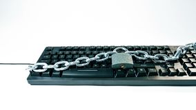 Computer safety symbol cybersecurity concepts. Office computer keyboard chain and padlock locked, white background stock video
