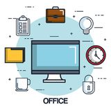 Office Computer Monitor Clock Folder Briefcase Checklist Royalty Free Stock Photo